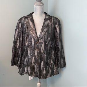 Plus size grey black Blazer jacket